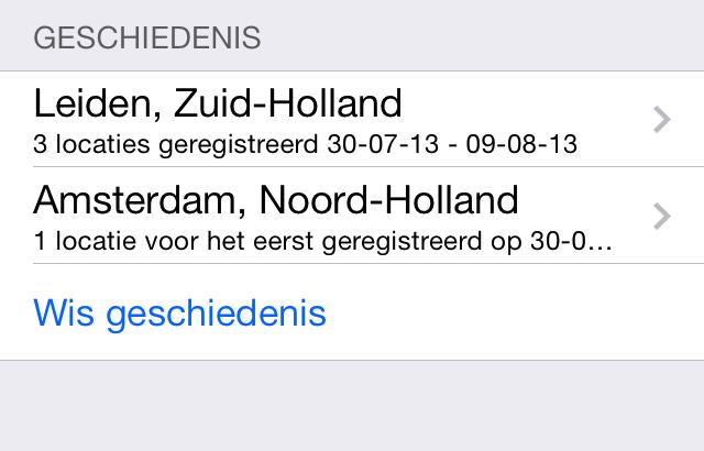 Veelbezochte locaties history iOS 7