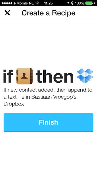 IFTTT contacten naar Dropbox