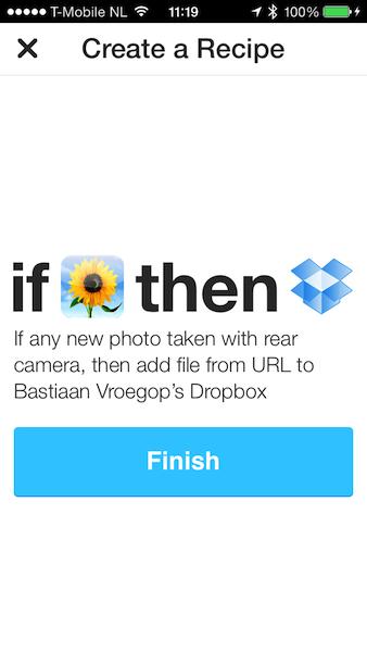 IFTTT specifieke fotos naar Dropbox