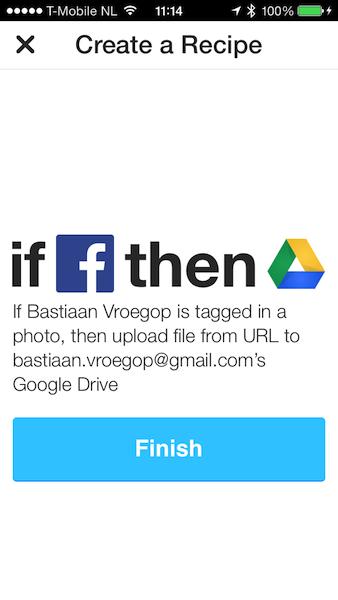 IFTTT Facebook tag naar Drive