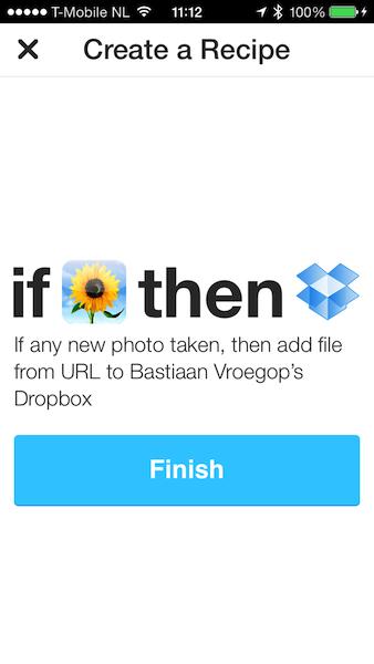 IFTTT foto naar Dropbox