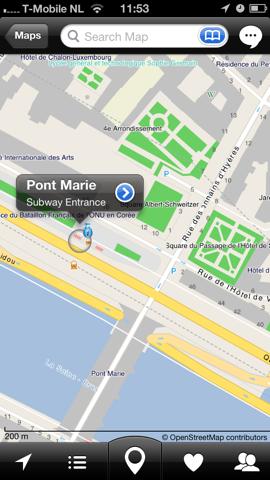 City Maps 2Go nieuwe kaart iPhone