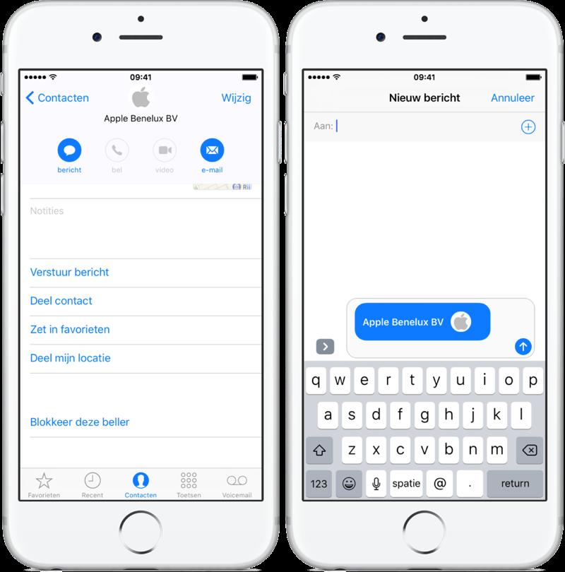 Contact delen vanuit adresboek via iMessage.