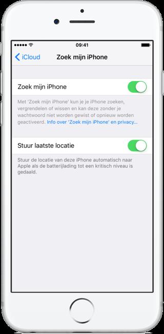 Stuur laatste locatie en Zoek iPhone inschakelen.