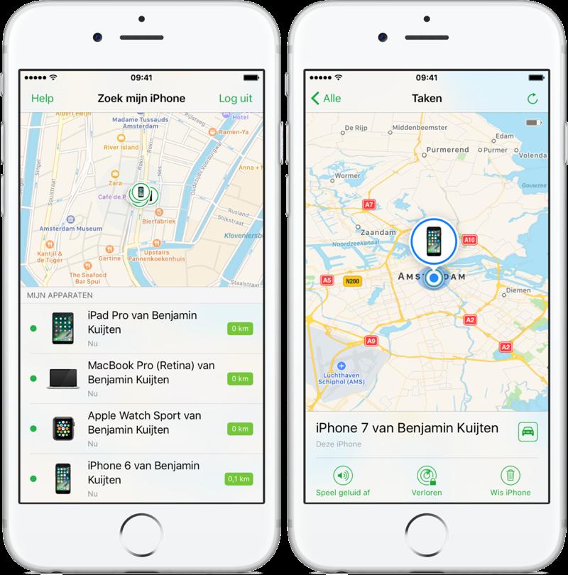 Zoek mijn iPhone op de kaart met toestellen.