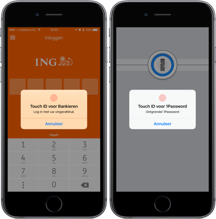 ING en 1Password met Touch ID.