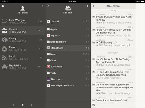 Reeder iPad gekoppelde diensten