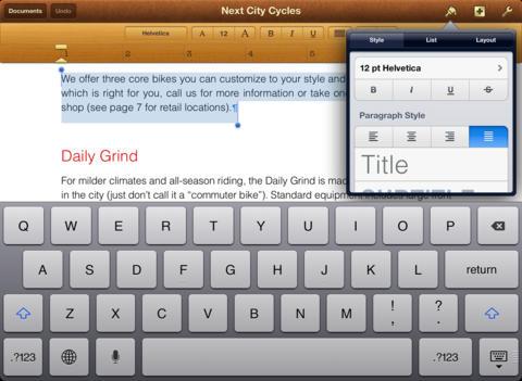Pages iPad iOS tekstverwerker Microsoft Word