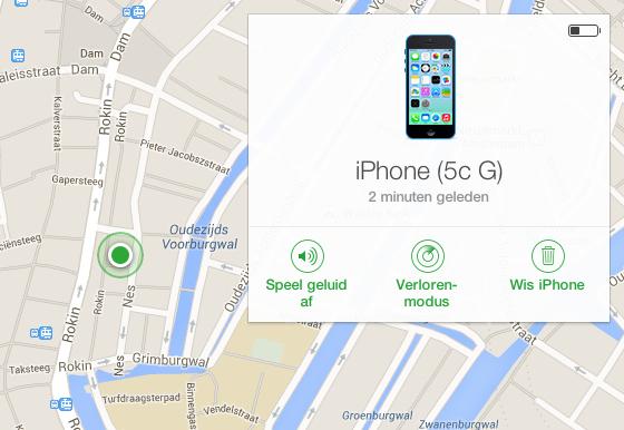 zoek mijn iphone kaart browser