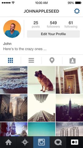 Instagram nieuwe profielpagina