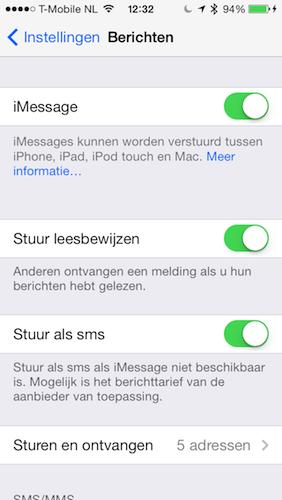 iOS 7 iMessage instellingen