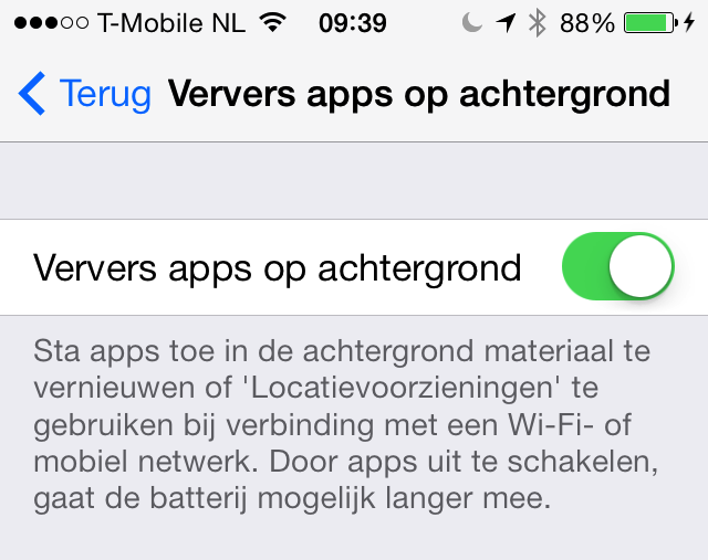Ververs apps in achtergrond