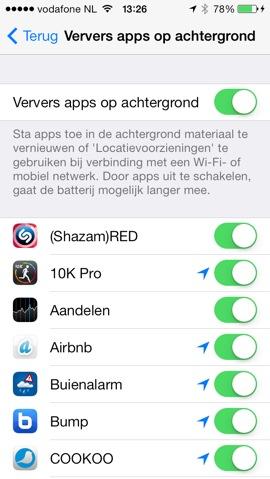 ios 7 apps verversen