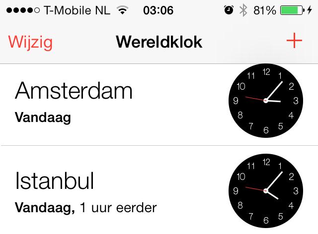 iOS 7 wereldklok bug