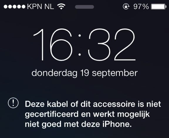 iOS 7 onofficiele kabels