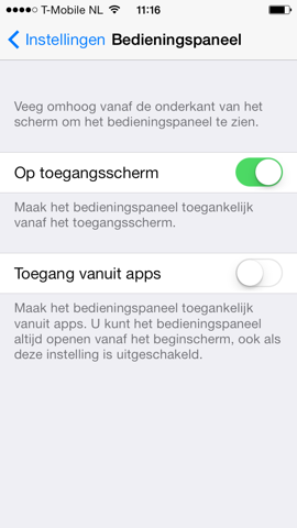 iOS 7 instellingen control center in apps