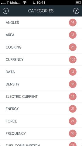 Amount omrekenen categorieën iPhone