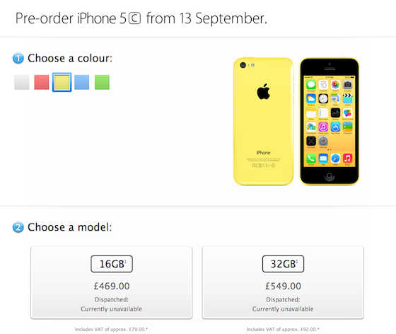 Apple Store UK iPhone 5c