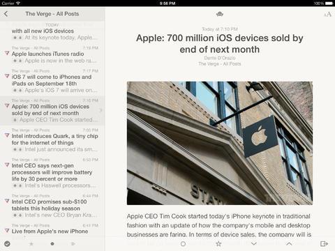 Reeder 2 iPad screenshot
