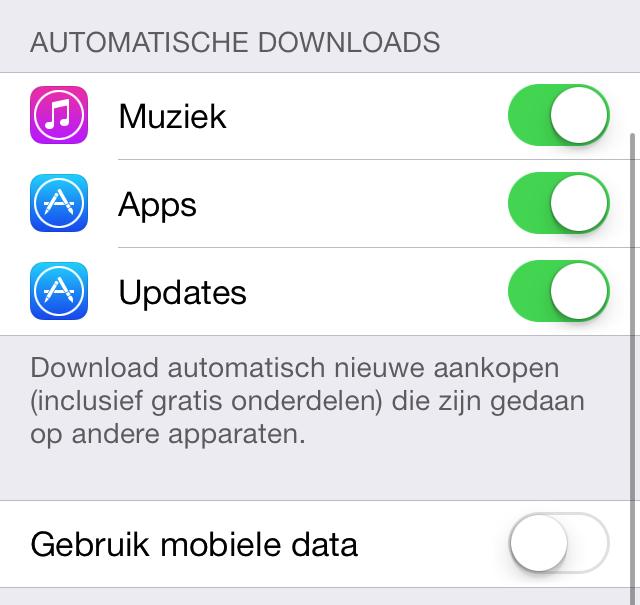 Automatische downloads iOS 7