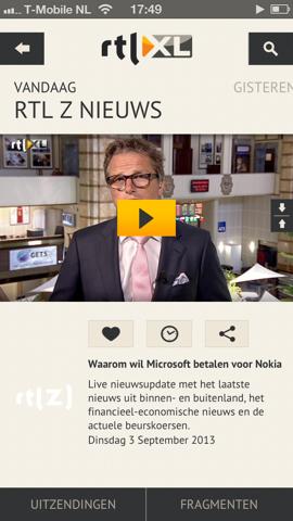RTL XL iPhone uitzending