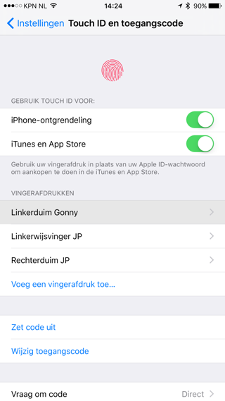 Vingers Touch ID
