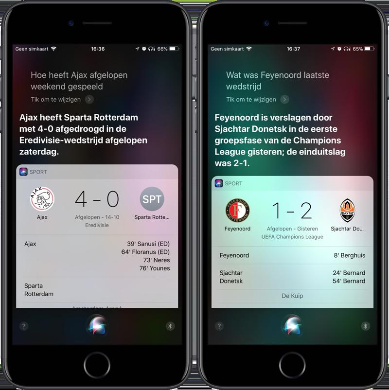 Voetbaluitslagen opvragen Siri
