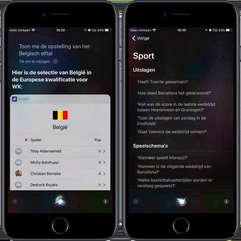 Voetbalvragen stellen aan Siri