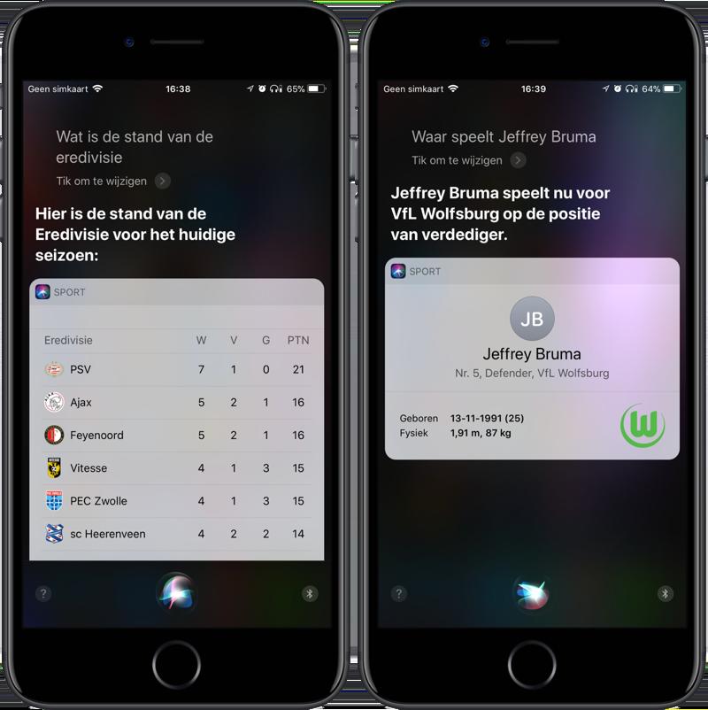 Voetbalstanden opvragen met Siri
