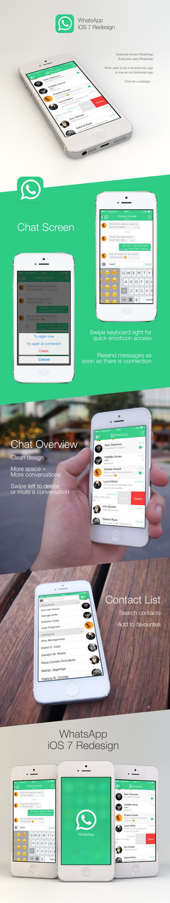 WhatsApp iOS 7 redesign Martijn Jegerings