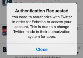 Echofon foutmelding iPhone-app