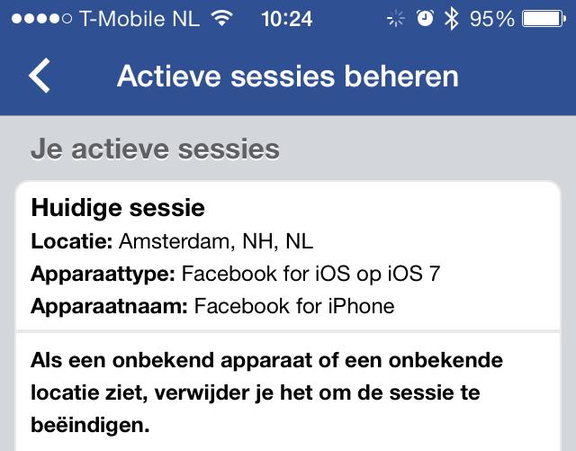 Facebook actieve sessies
