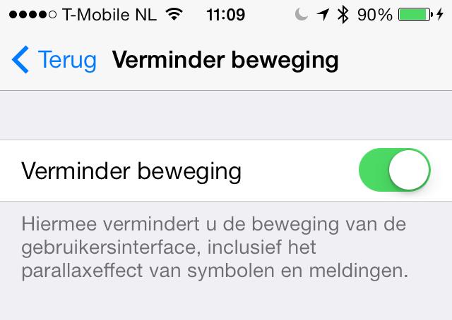 iOS 7.0.3 verminder beweging