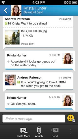 BlackBerry Messenger berichten iPhone iOS