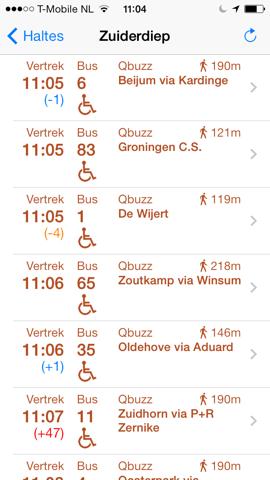 Openbaar Vervoer lijnen van halte