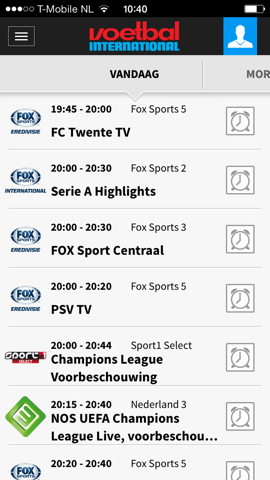 Voetbal International tv-gids iPhone