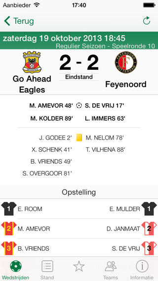 Eredivisie livestand iPhone-app