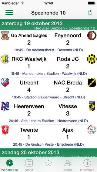 Eredivisie Live iPhone-app speelronde