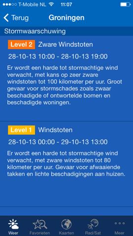 Storm-apps iPhone waarschuwing