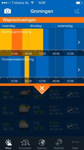 Storm-apps iPhone WeatherPro tijdbalk