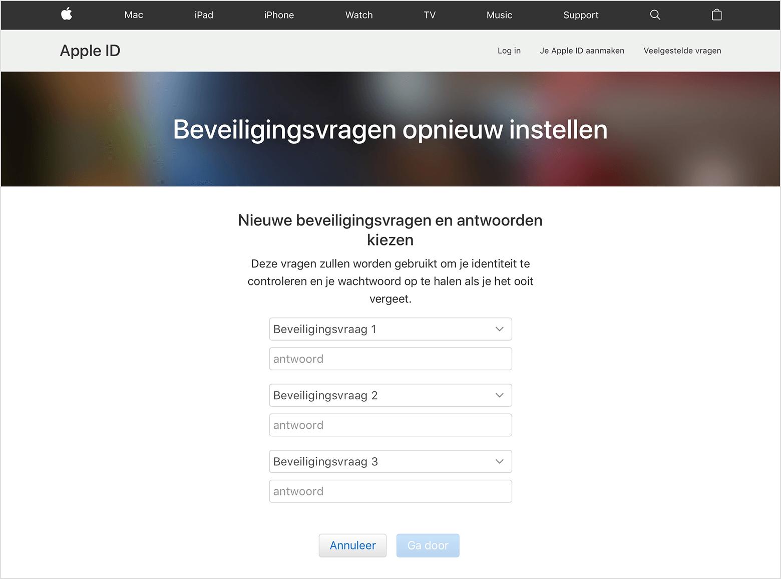 Apple ID wachtwoord vergeten