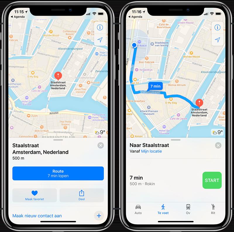 Agenda-afspraken: kaartje bekijken en route plannen met Apple Kaarten