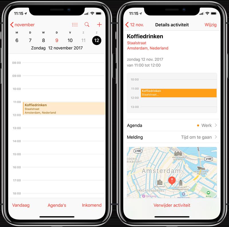 Locatie van afspraak in iPhone-agenda