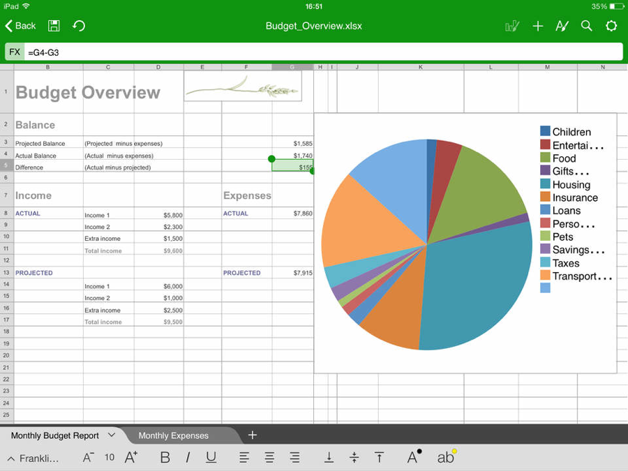 Office Suite Professional iPad spreadsheet