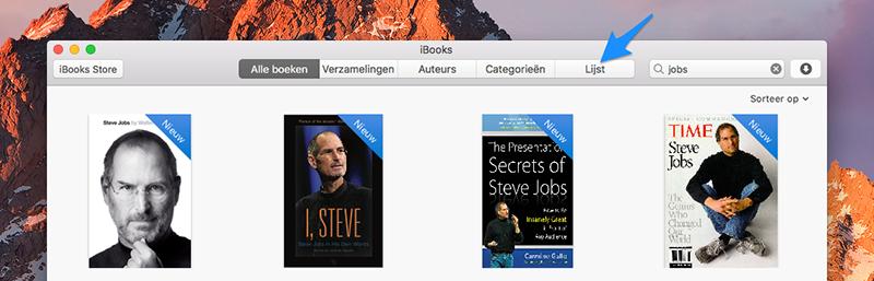 iBooks lijstweergave
