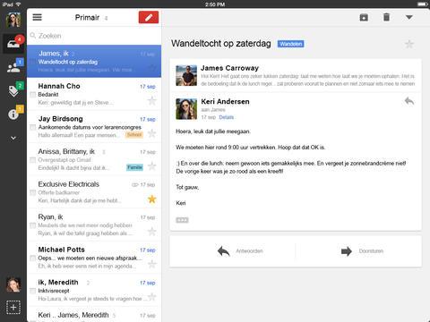Gmail iPad grijze knoppenbalk helemaal links
