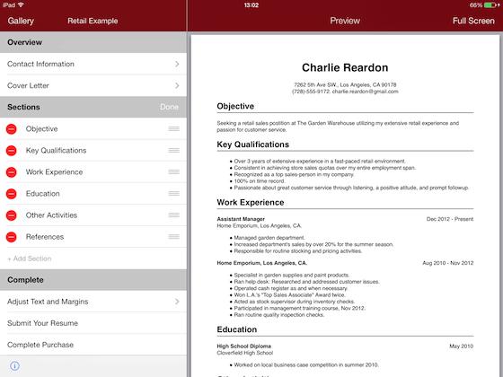 Resume Star voor iPhone en iPad: CV's en sollicitatiebrieven maken