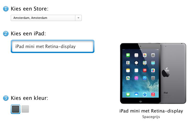 iPad mini Retina reservering
