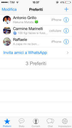 whatsapp favorieten