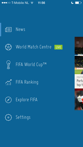 FIFA Official App iPhone hoofdmenu